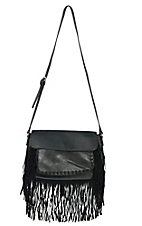 Urban Originals Black Mania Vegan Leather / Suede Crossbody Bag