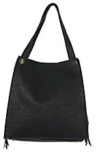 Urban Originals Black Wonder Zip Vegan Leather / Suede Handbag