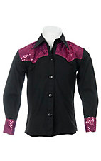 09 Apparel Girls Black w/ Pink Sequins Long Sleeve Western Shirt