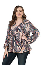 Ivy Jane Women's Blush and Navy Aztec Print Long Cinched Sleeve Fashion Top