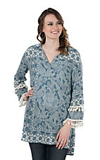 Ivy Jane Women's Blue Paisley Print with Tassel Accents Long Bell Sleeve Fashion Tunic Top
