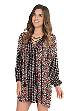 Uncle Frank Women's Red and Black Print Long Cinched Sleeve Dress
