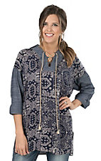 Uncle Frank Women's Blue Bandana Print with Denim Details Long Sleeve Fashion Tunic Top