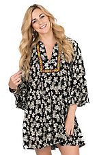 Uncle Frank Women's Black and White Floral with Neon Floral Embroidery Long Bell Sleeve Dress