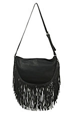 Urban Originals Black Sahara Spirit Boho Fringe Hobo Bag