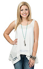 PPLA Women's Ivory with Lace Trim Tank