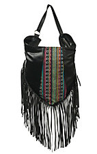 Urban Originals Black with Serape and Fringe Hobo Bag