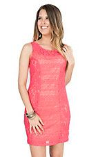 Anne French Coral with Tan Lining Lace Sleeveless Dress