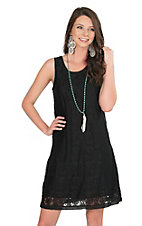 Anne French Black Lace Sleeveless A-Line Dress