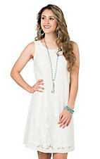 Anne French Ivory Lace Sleeveless A-Line Dress