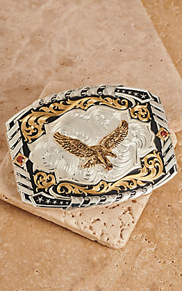 Montana Silversmiths Two Tone Cantle Roll Buckle with Soaring Eagle
