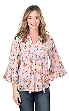 Ivy Jane Women's Pink Floral Print 3/4 Sleeve Fashion Top