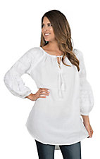 Ivy Jane Women's White with Embroidery Long Sleeve Tunic Fashion Top