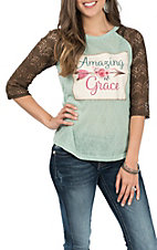 Southern Grace Women's Teal and Brown Amazing Grace 3/4 Sleeve Casual Knit Shirt