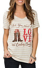 Southern Grace Women's Tan and White Striped All You Need is Love Short Sleeve Graphic Tee