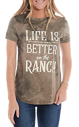 Southern Grace Women's Life Is Better On The Ranch Short Sleeve T-Shirt