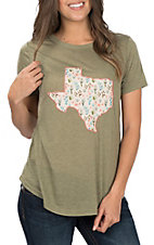 Southern Grace Women's Texas Patch Short Sleeve Casual Knit Tee