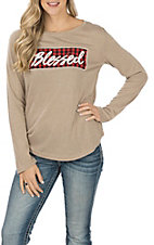 Southern Grace Women's Beige Long Sleeve Blessed Plaid T-Shirt