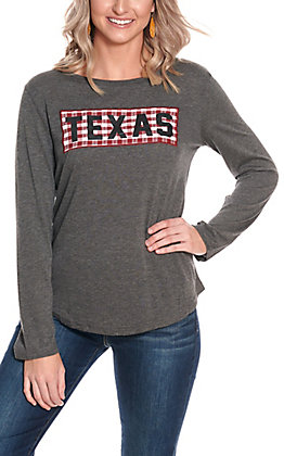 Southern Grace Women's Grey with Maroon & White Gingham Texas Patch Long Sleeve Casual Knit Top