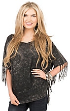 PPLA Women's Charcoal Burnout with Fringe on Sides Short Sleeve Fashion Top