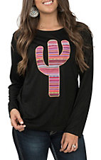 Southern Grace Women's Serape Cactus Black Long Sleeve T-Shirt