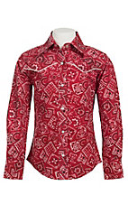 09 Apparel Girl's Red Bandana Long Sleeve Western Shirt