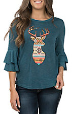 Southern Grace Women's Teal Aztec Deer Embroidery Ruffle Casual Knit Top