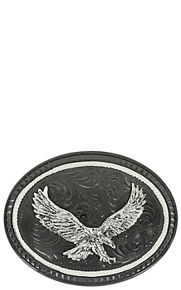 Montana Silversmiths Silver Lining Gunmetal Oval Buckle with Soaring Eagle Figure