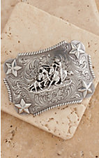 M&F Western Products Silver Rectangular Buckle w/Stars Team Roping Children's Buckle