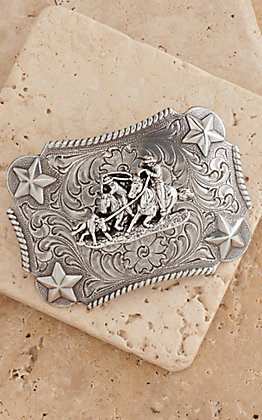 M&F Western Products Silver Rectangular Buckle with Stars Team Roping Children's Buckle