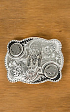 Montana Silversmiths Silver Antiqued Buffalo Nickel Flourish Buckle with Buffalo Skull