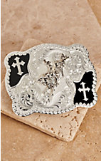 Montana Silversmiths Silver with Black and Crosses Bull Rider Scalloped Belt Buckle