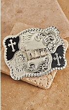 Montana Silversmiths Silver with Black Praying Cowboy Scalloped Rectangle Buckle