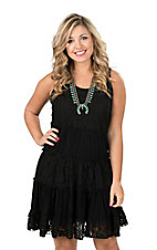 Anne French Black Lace Tier Sleeveless Tank Dress