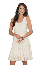 Anne French Ivory Lace Tier Sleeveless Tank Dress