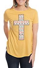 Southern Grace Women's Mustard Aztec Cross Patch Short Sleeve T-Shirt