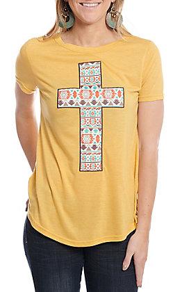 Southern Grace Women's Mustard Aztec Cross Patch Short Sleeve T-Shirt