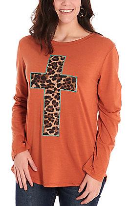Southern Grace Women's Burnt Orange with Leopard Cross Long Sleeve Casual Knit Top