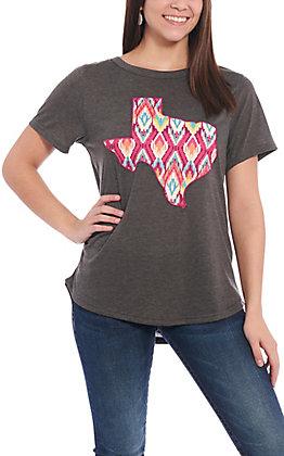 Southern Grace Women's Charcoal Aztec Texas Graphic Short Sleeve T-Shirt