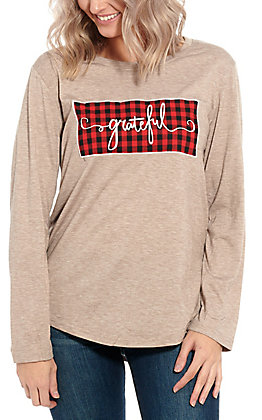 Southern Grace Women's Tan Grateful Long Sleeve Graphic Tee