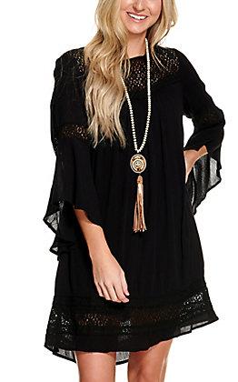 Magnolia Lane Women's Black with Black Crochet Long Bell Sleeves Dress