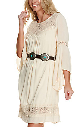 Magnolia Lane Women's Natural Cream with Cream Crochet Long Bell Sleeves Dress