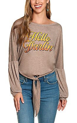 "Southern Grace Women's Heather Brown ""Hey Darlin"" Long Sleeve Shirt"