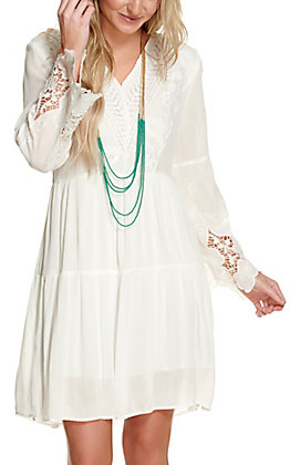 Magnolia Lane Women's White with Lace Long Bell Sleeve Dress