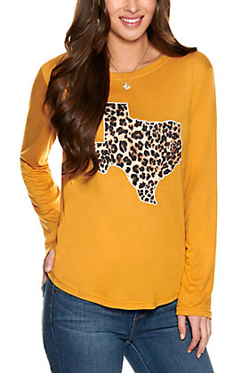 Southern Grace Women's Mustard with Leopard Print Appliqué Long Sleeve T-Shirt