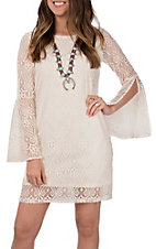 Anne French Women's Natural Cream Lace Bell Sleeve Dress