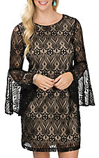 Anne French Women's Black & Cream Lace Bell Sleeve Dress