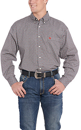 Panhandle Cavender's Exclusive Men's Grey Geo Print Long Sleeve Western Shirt