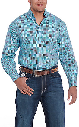 Panhandle Cavender's Exclusive Men's Turqouise Geo Print Long Sleeve Western Shirt