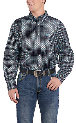 Panhandle Cavender's Exclusive Men's Black Medallion Long Sleeve Western Shirt